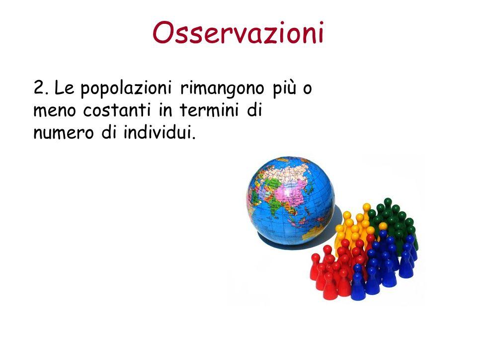 Osservazioni 2. Le popolazioni rimangono più o meno costanti in termini di numero di individui.