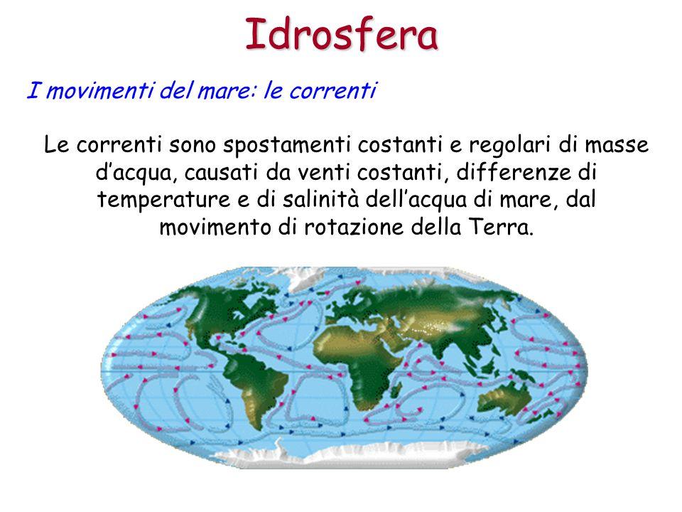 Idrosfera I movimenti del mare: le correnti Le correnti sono spostamenti costanti e regolari di masse dacqua, causati da venti costanti, differenze di
