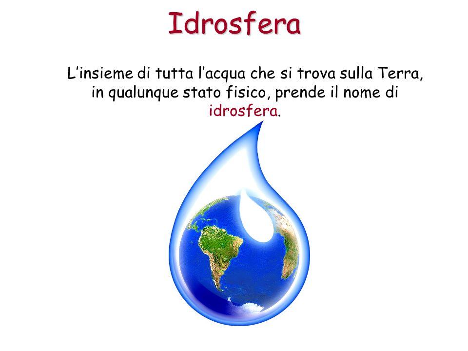 Linsieme di tutta lacqua che si trova sulla Terra, in qualunque stato fisico, prende il nome di idrosfera.Idrosfera