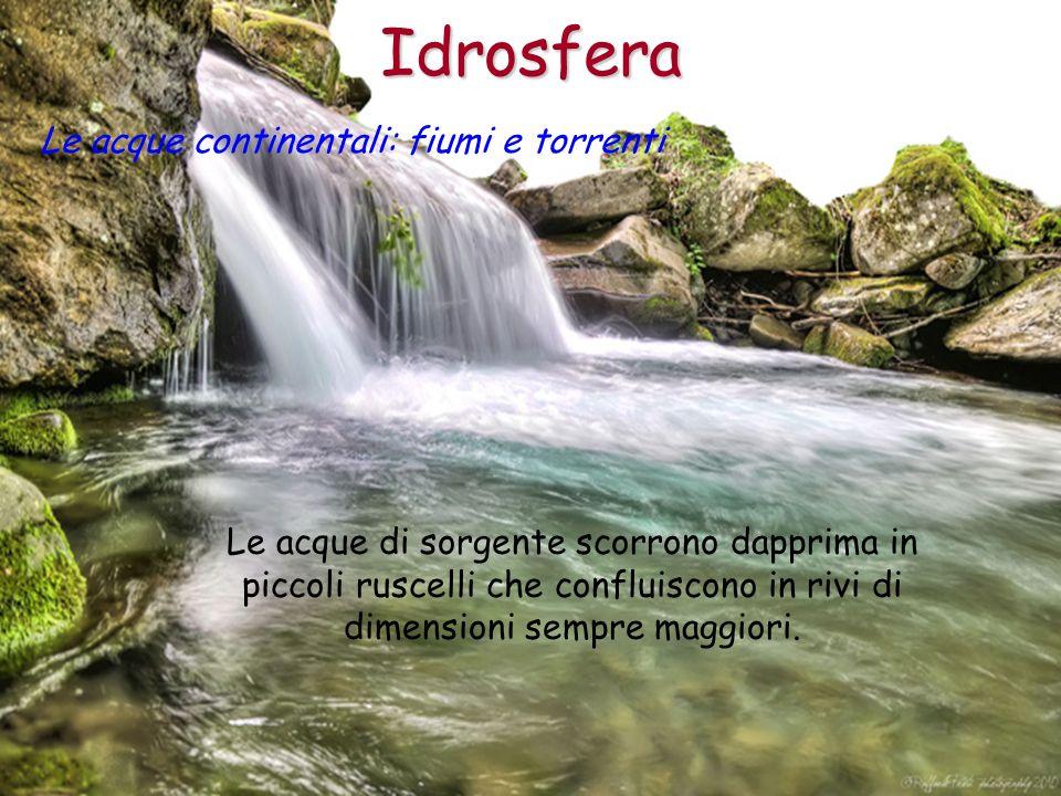 Idrosfera Le acque di sorgente scorrono dapprima in piccoli ruscelli che confluiscono in rivi di dimensioni sempre maggiori. Le acque continentali: fi