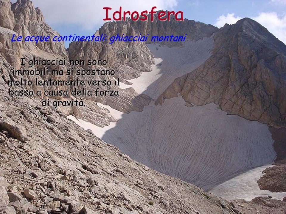 Idrosfera Le acque continentali: ghiacciai montani I ghiacciai non sono immobili ma si spostano molto lentamente verso il basso a causa della forza di