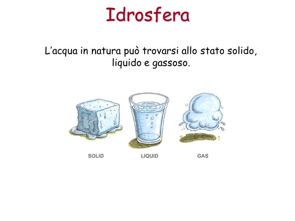 Lacqua in natura può trovarsi allo stato solido, liquido e gassoso.Idrosfera