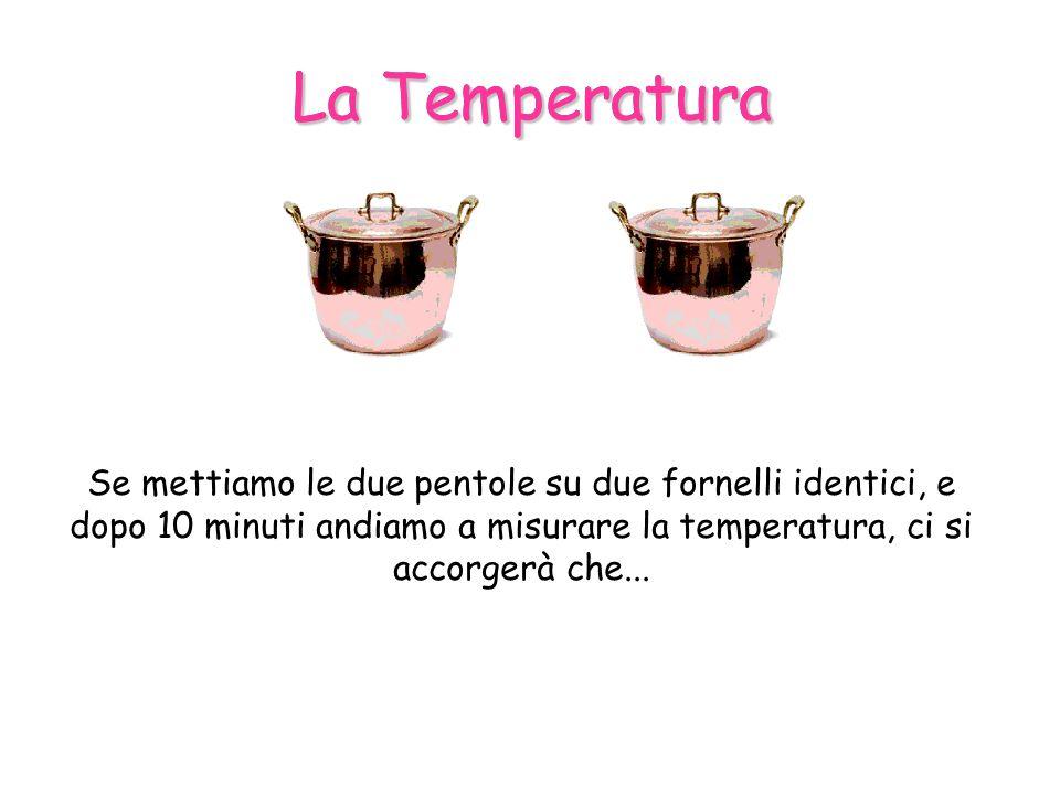 La Temperatura Se mettiamo le due pentole su due fornelli identici, e dopo 10 minuti andiamo a misurare la temperatura, ci si accorgerà che...