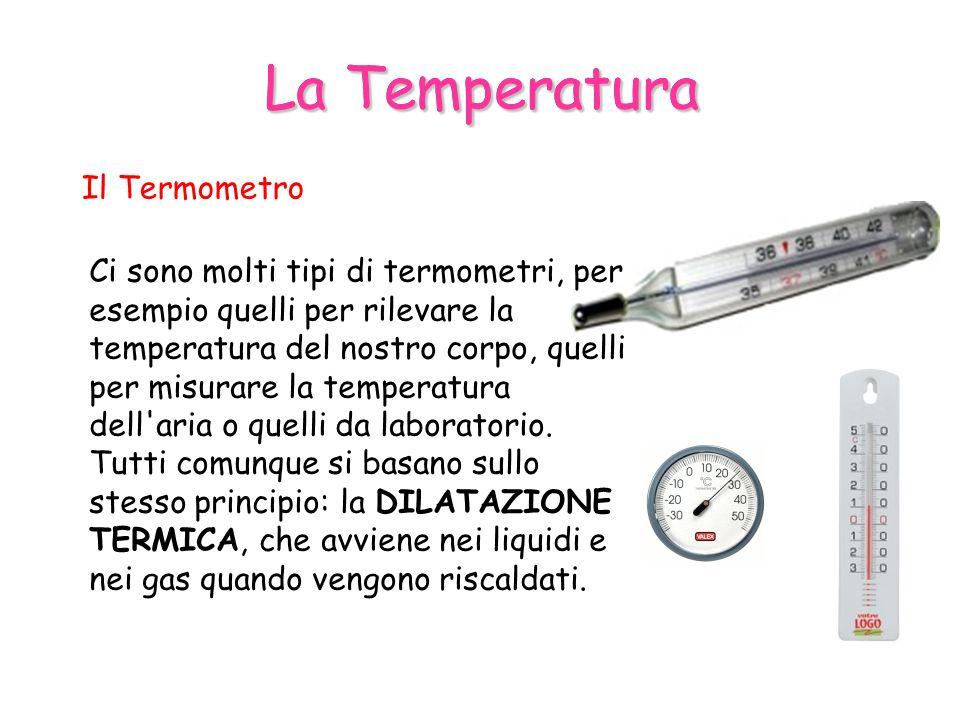 La Temperatura Il Termometro Ci sono molti tipi di termometri, per esempio quelli per rilevare la temperatura del nostro corpo, quelli per misurare la temperatura dell aria o quelli da laboratorio.