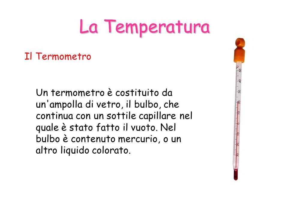 La Temperatura Il Termometro Un termometro è costituito da un ampolla di vetro, il bulbo, che continua con un sottile capillare nel quale è stato fatto il vuoto.