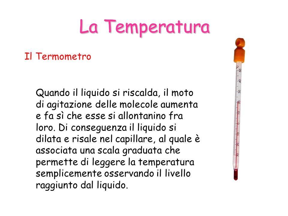 La Temperatura Il Termometro Quando il liquido si riscalda, il moto di agitazione delle molecole aumenta e fa sì che esse si allontanino fra loro.