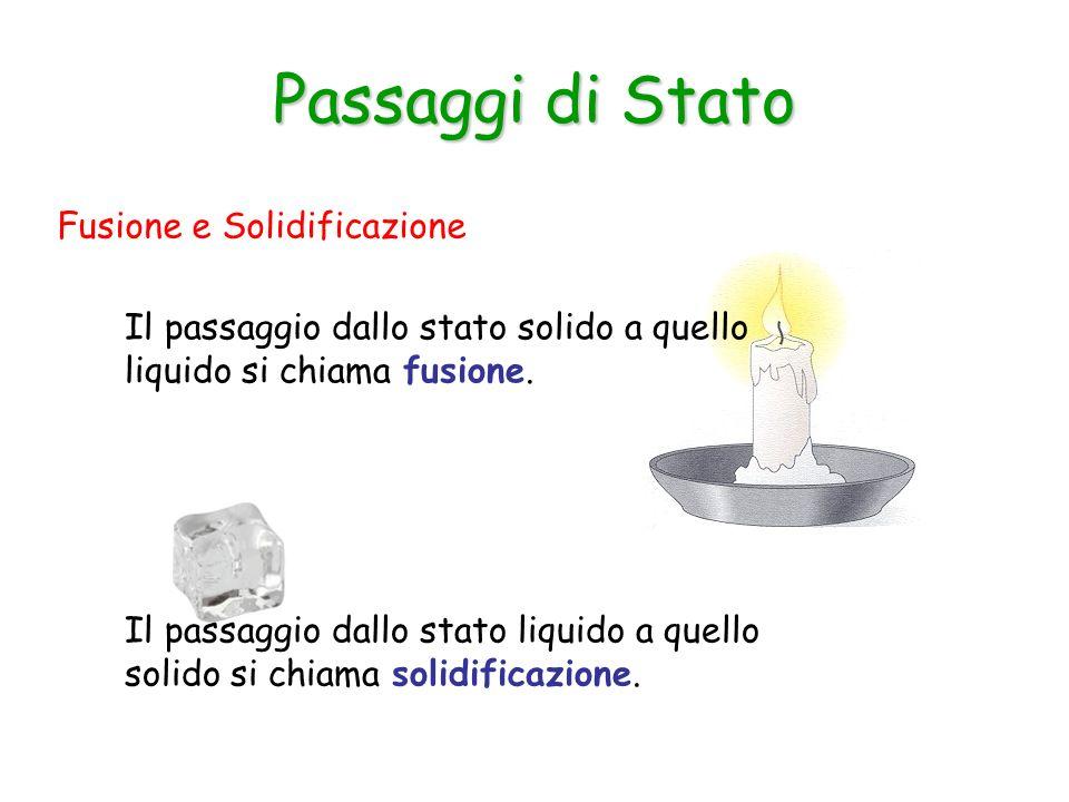 Fusione e Solidificazione Passaggi di Stato Il passaggio dallo stato solido a quello liquido si chiama fusione.