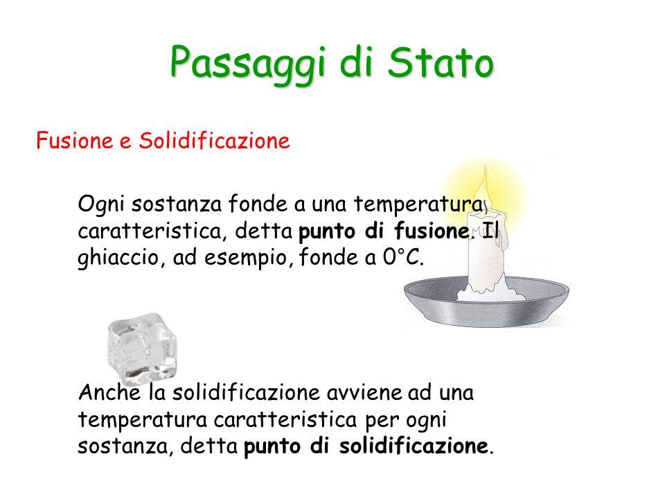 Fusione e Solidificazione Passaggi di Stato Ogni sostanza fonde a una temperatura caratteristica, detta punto di fusione.