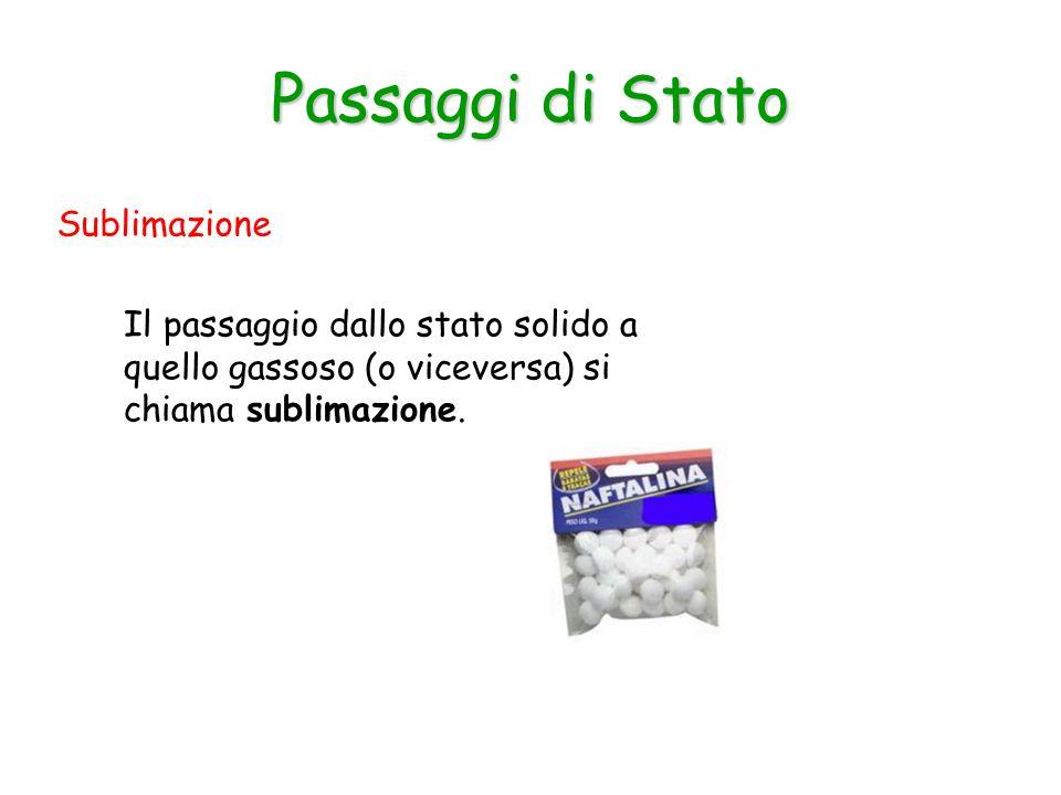 Sublimazione Passaggi di Stato Il passaggio dallo stato solido a quello gassoso (o viceversa) si chiama sublimazione.
