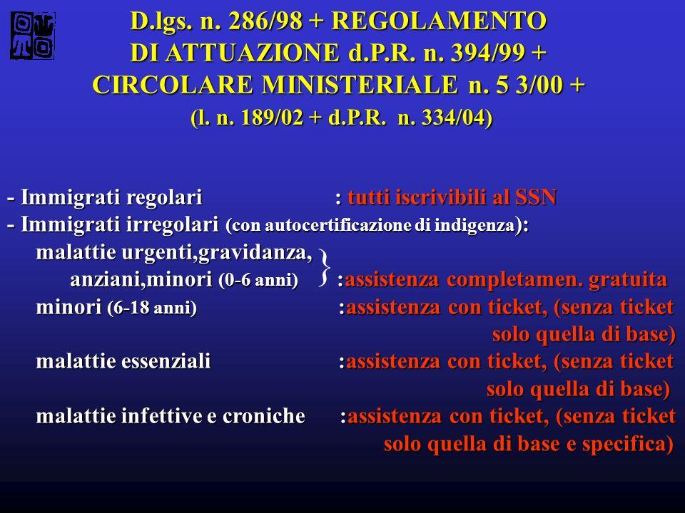 D.lgs. n. 286/98 + REGOLAMENTO DI ATTUAZIONE d.P.R. n. 394/99 + CIRCOLARE MINISTERIALE n. 5 3/00 + (l. n. 189/02 + d.P.R. n. 334/04) (l. n. 189/02 + d