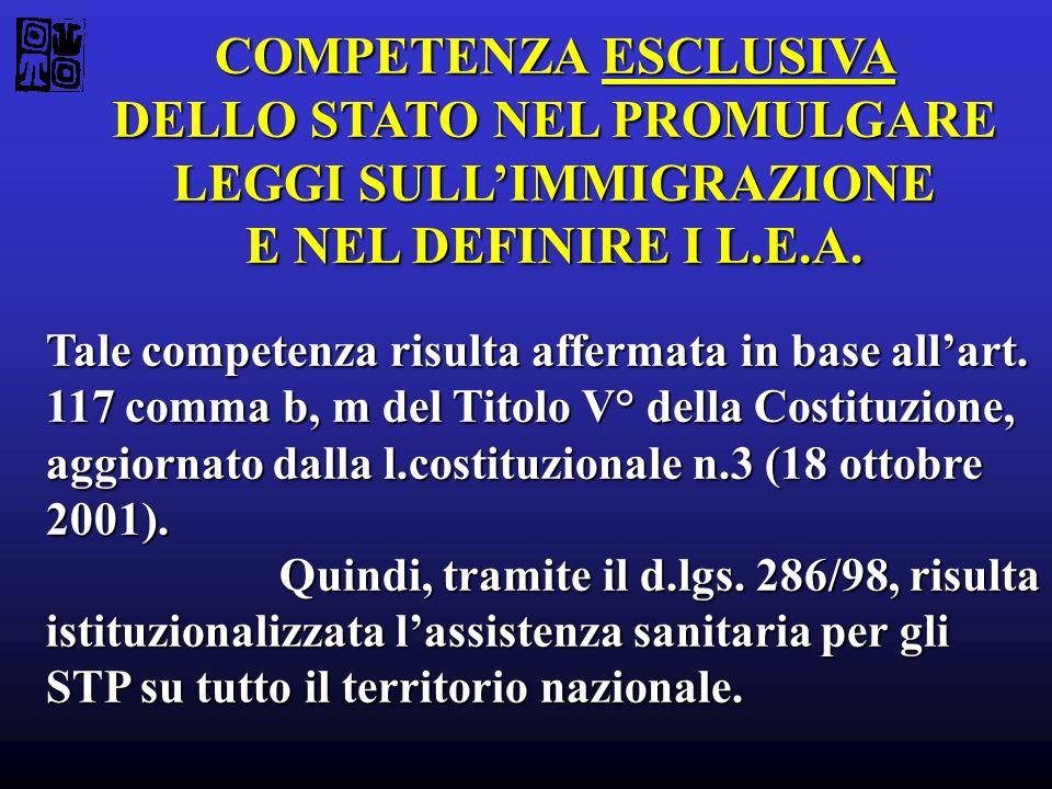 COMPETENZA ESCLUSIVA DELLO STATO NEL PROMULGARE LEGGI SULLIMMIGRAZIONE E NEL DEFINIRE I L.E.A. Tale competenza risulta affermata in base allart. 117 c