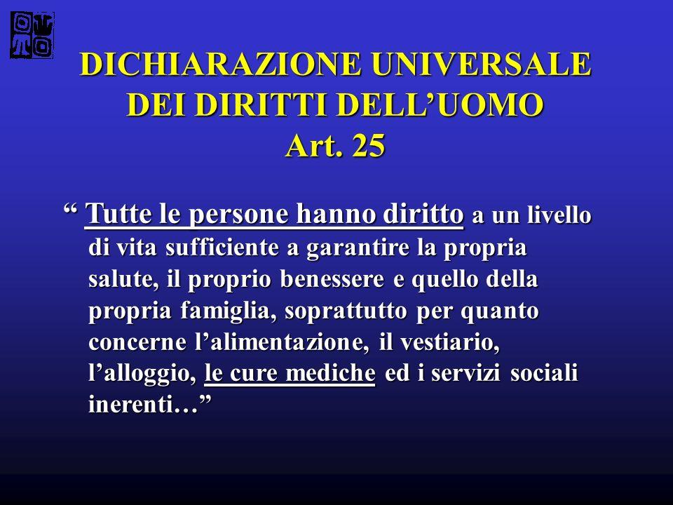 DICHIARAZIONE UNIVERSALE DEI DIRITTI DELLUOMO Art. 25 Tutte le persone hanno diritto a un livello di vita sufficiente a garantire la propria salute, i