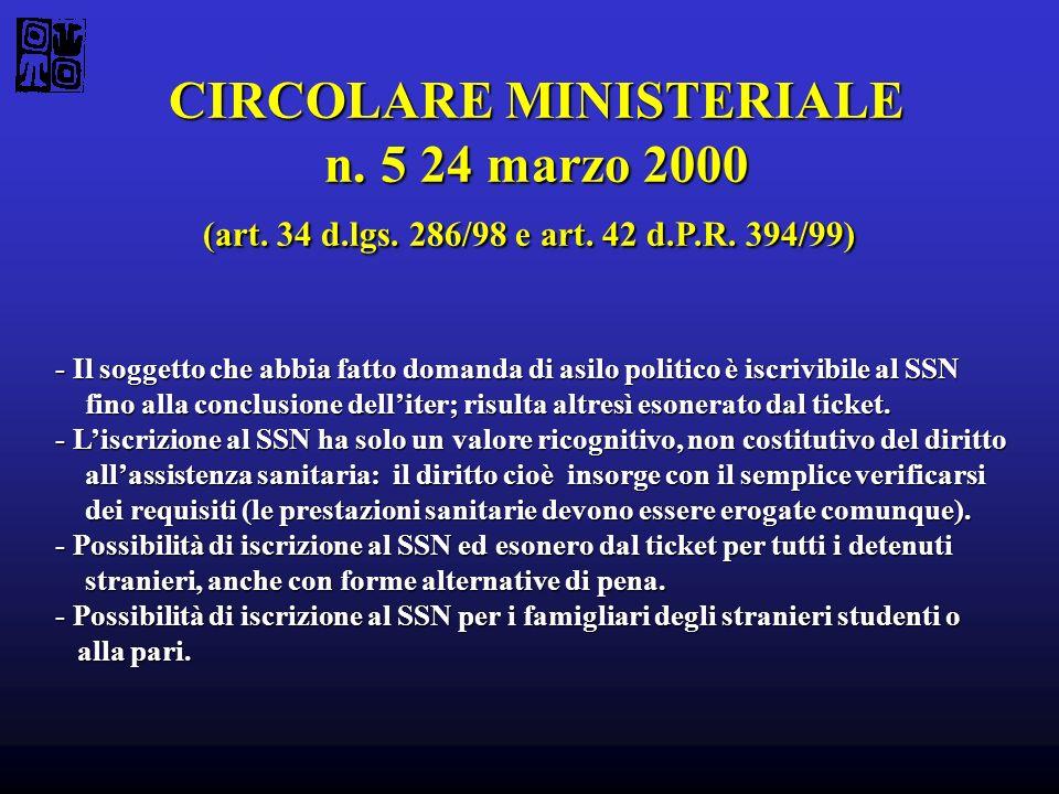 CIRCOLARE MINISTERIALE n. 5 24 marzo 2000 (art. 34 d.lgs. 286/98 e art. 42 d.P.R. 394/99) - Il soggetto che abbia fatto domanda di asilo politico è is