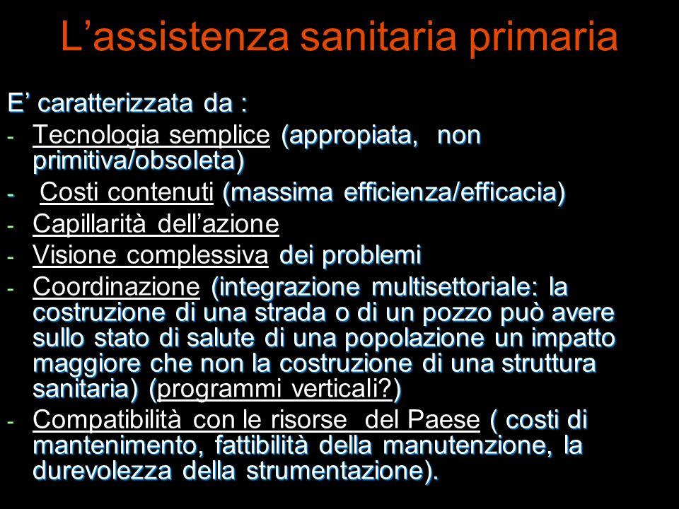 Lassistenza sanitaria primaria E caratterizzata da : - (appropiata, non primitiva/obsoleta) - Tecnologia semplice (appropiata, non primitiva/obsoleta)