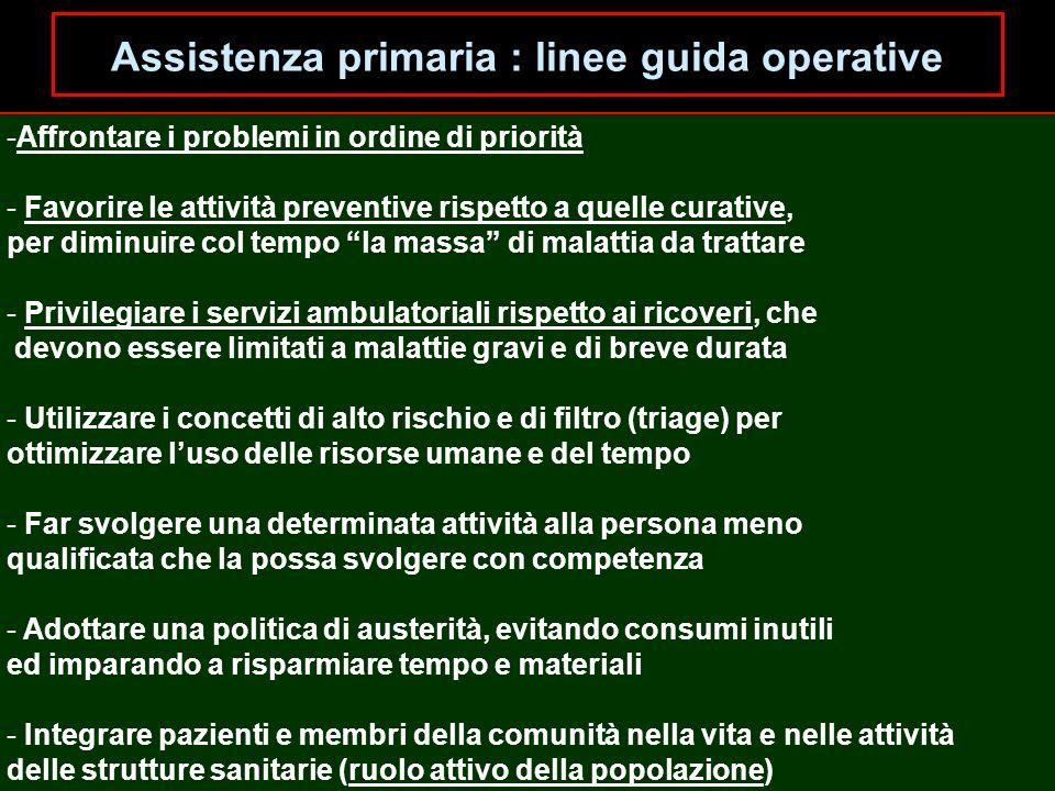 Assistenza primaria : linee guida operative -Affrontare i problemi in ordine di priorità - Favorire le attività preventive rispetto a quelle curative,