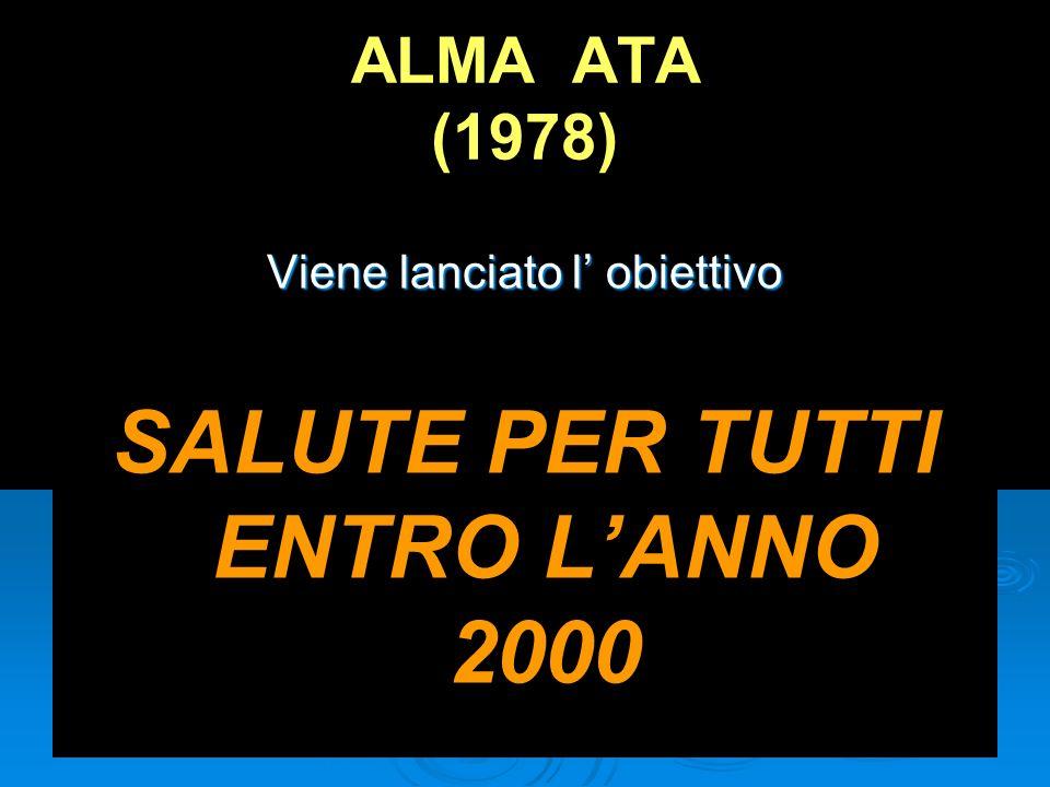 ALMA ATA (1978) Viene lanciato l obiettivo SALUTE PER TUTTI ENTRO LANNO 2000