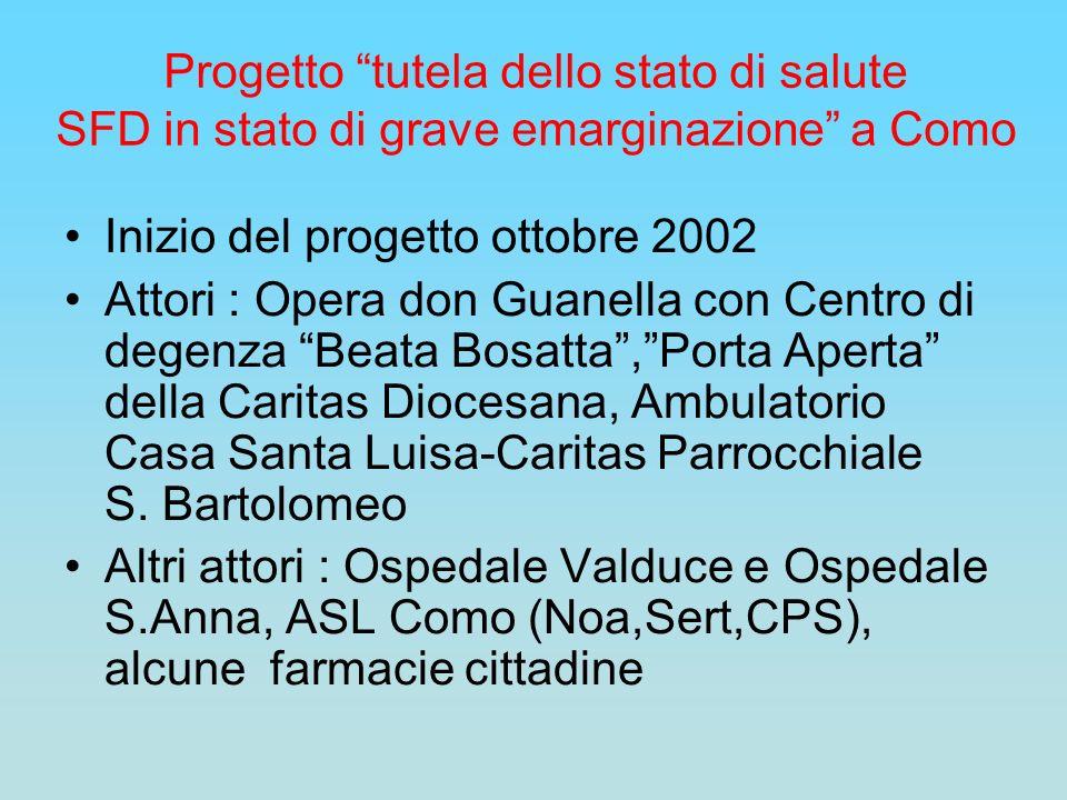 Progetto tutela dello stato di salute SFD in stato di grave emarginazione a Como Inizio del progetto ottobre 2002 Attori : Opera don Guanella con Cent