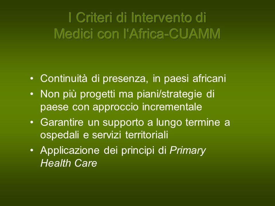 Continuità di presenza, in paesi africani Non più progetti ma piani/strategie di paese con approccio incrementale Garantire un supporto a lungo termine a ospedali e servizi territoriali Applicazione dei principi di Primary Health Care