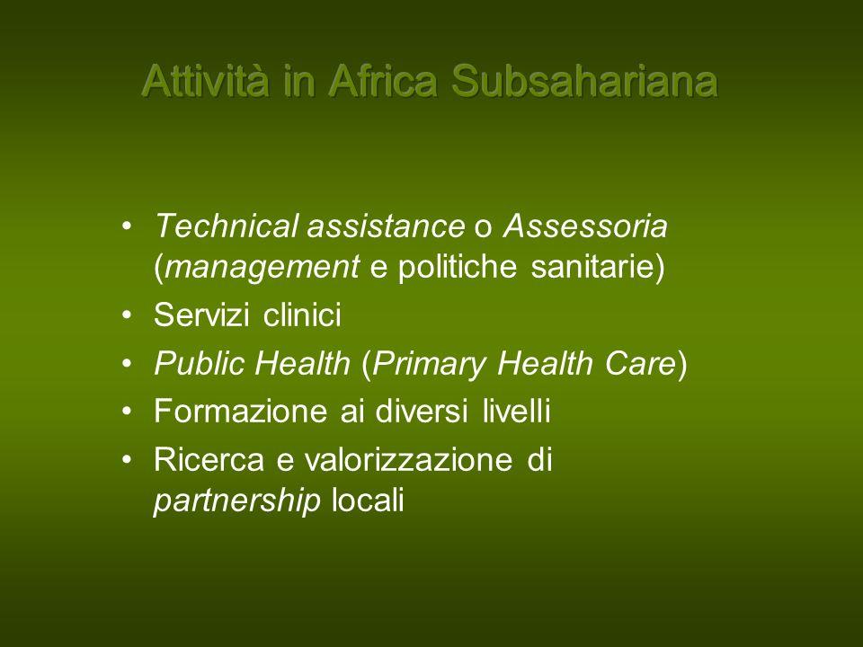 Technical assistance o Assessoria (management e politiche sanitarie) Servizi clinici Public Health (Primary Health Care) Formazione ai diversi livelli Ricerca e valorizzazione di partnership locali