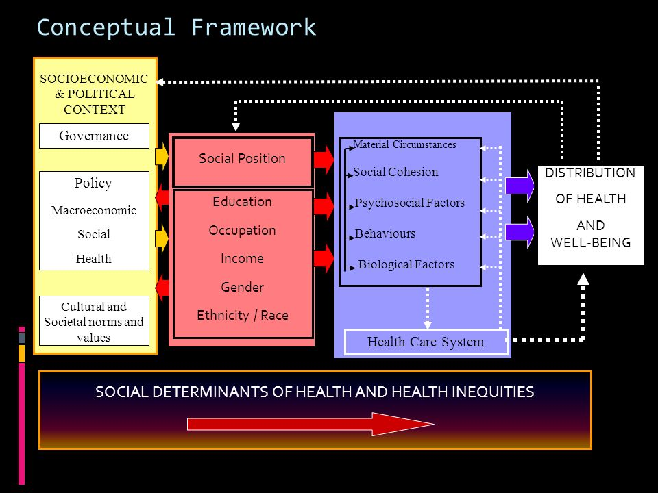 Conceptual Framework SOCIAL DETERMINANTS OF HEALTH AND HEALTH INEQUITIES SOCIOECONOMIC & POLITICAL CONTEXT Governance Policy Macroeconomic Social Heal