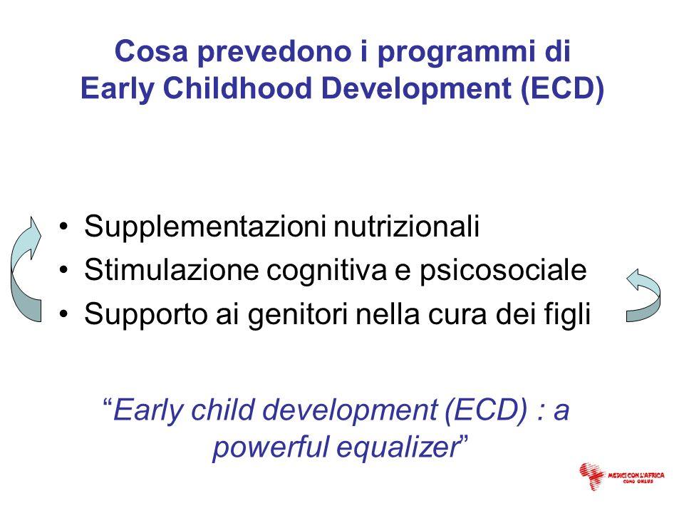 Cosa prevedono i programmi di Early Childhood Development (ECD) Supplementazioni nutrizionali Stimulazione cognitiva e psicosociale Supporto ai genito