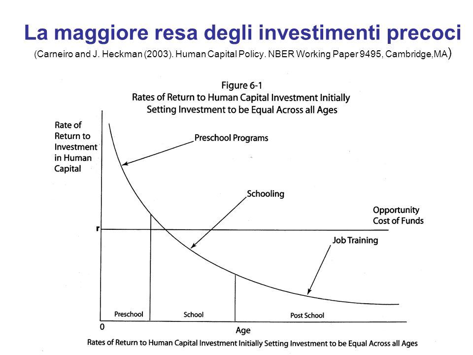 La maggiore resa degli investimenti precoci (Carneiro and J. Heckman (2003). Human Capital Policy. NBER Working Paper 9495, Cambridge,MA )