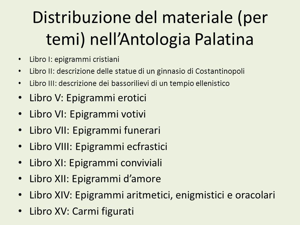 Distribuzione del materiale (per temi) nellAntologia Palatina Libro I: epigrammi cristiani Libro II: descrizione delle statue di un ginnasio di Costan