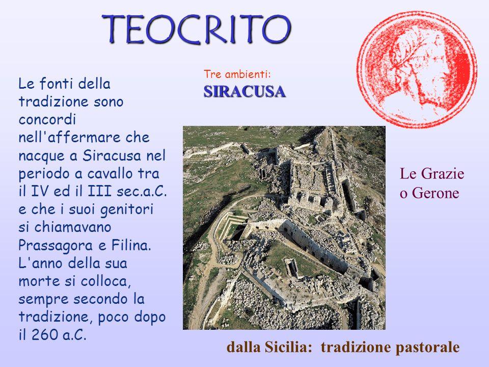 TEOCRITO Tre ambienti:SIRACUSA Le fonti della tradizione sono concordi nell affermare che nacque a Siracusa nel periodo a cavallo tra il IV ed il III sec.a.C.