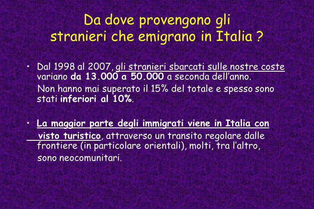 Da dove provengono gli stranieri che emigrano in Italia ? Dal 1998 al 2007, gli stranieri sbarcati sulle nostre coste variano da 13.000 a 50.000 a sec