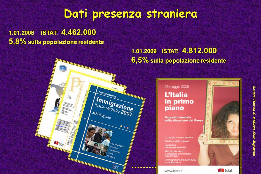 Dati presenza straniera 1.01.2008 ISTAT: 4.462.000 5,8% sulla popolazione residente 1.01.2009 ISTAT: 4.812.000 1.01.2009 ISTAT: 4.812.000 6,5% sulla p