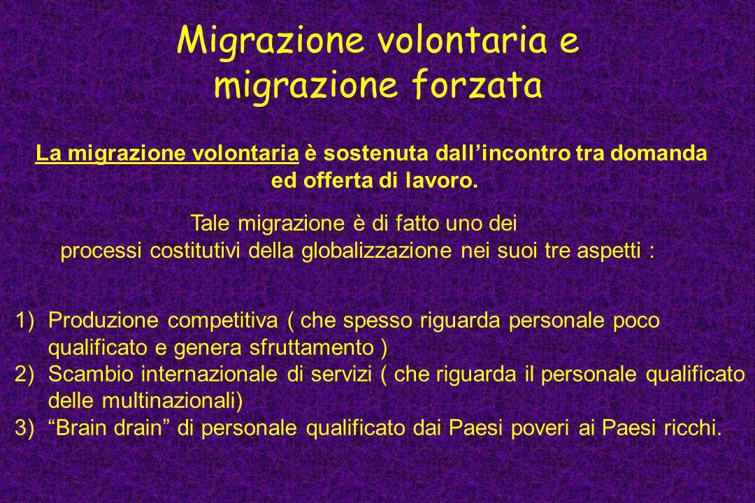 Migrazione volontaria e migrazione forzata La migrazione volontaria è sostenuta dallincontro tra domanda ed offerta di lavoro. Tale migrazione è di fa
