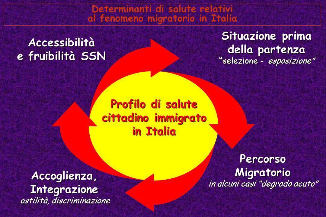 Determinanti di salute relativi al fenomeno migratorio in Italia Situazione prima della partenza selezione - esposizioneselezione - esposizione Accogl