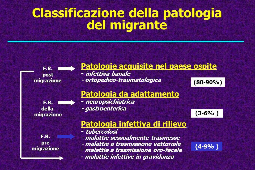 Classificazione della patologia del migrante Patologie acquisite nel paese ospite - infettiva banale - ortopedico-traumatologica Patologia da adattame