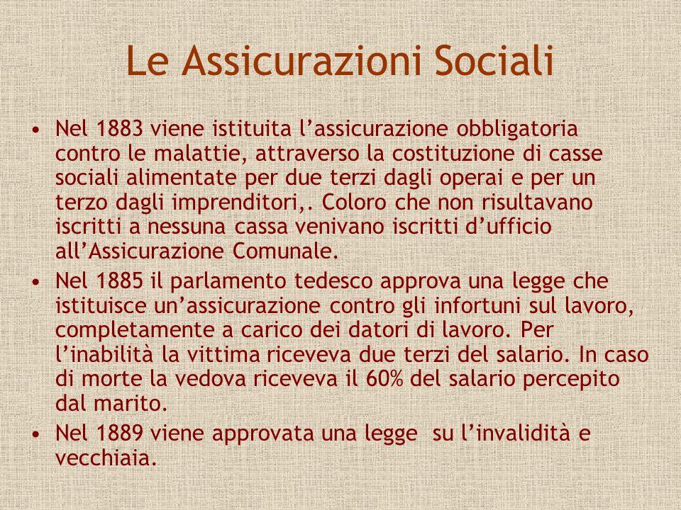 Le Assicurazioni Sociali Nel 1883 viene istituita lassicurazione obbligatoria contro le malattie, attraverso la costituzione di casse sociali alimenta