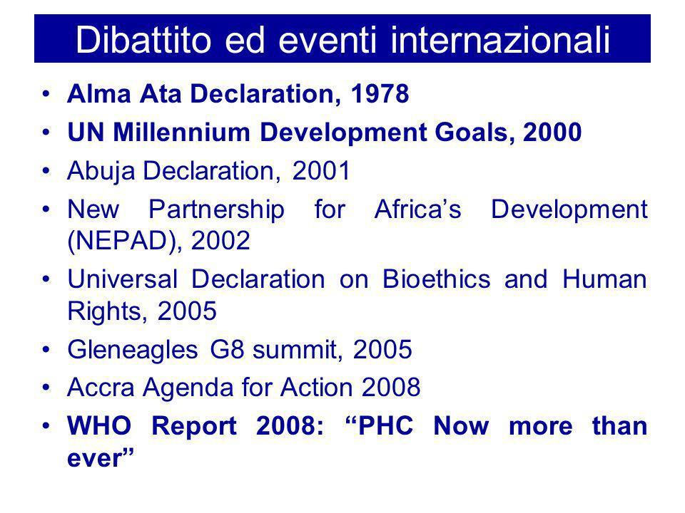 Dibattito ed eventi internazionali Alma Ata Declaration, 1978 UN Millennium Development Goals, 2000 Abuja Declaration, 2001 New Partnership for Africa