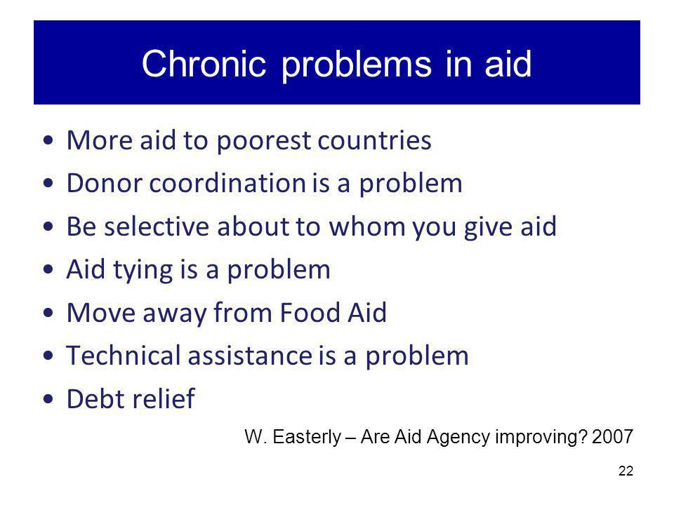 Chronic problems in aid More aid to poorest countries Donor coordination is a problem Be selective about to whom you give aid Aid tying is a problem M