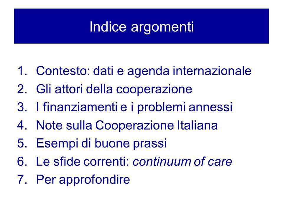 Indice argomenti 1.Contesto: dati e agenda internazionale 2.Gli attori della cooperazione 3.I finanziamenti e i problemi annessi 4.Note sulla Cooperaz