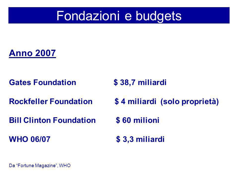 Fondazioni e budgets Anno 2007 Gates Foundation $ 38,7 miliardi Rockfeller Foundation $ 4 miliardi (solo proprietà) Bill Clinton Foundation $ 60 milio