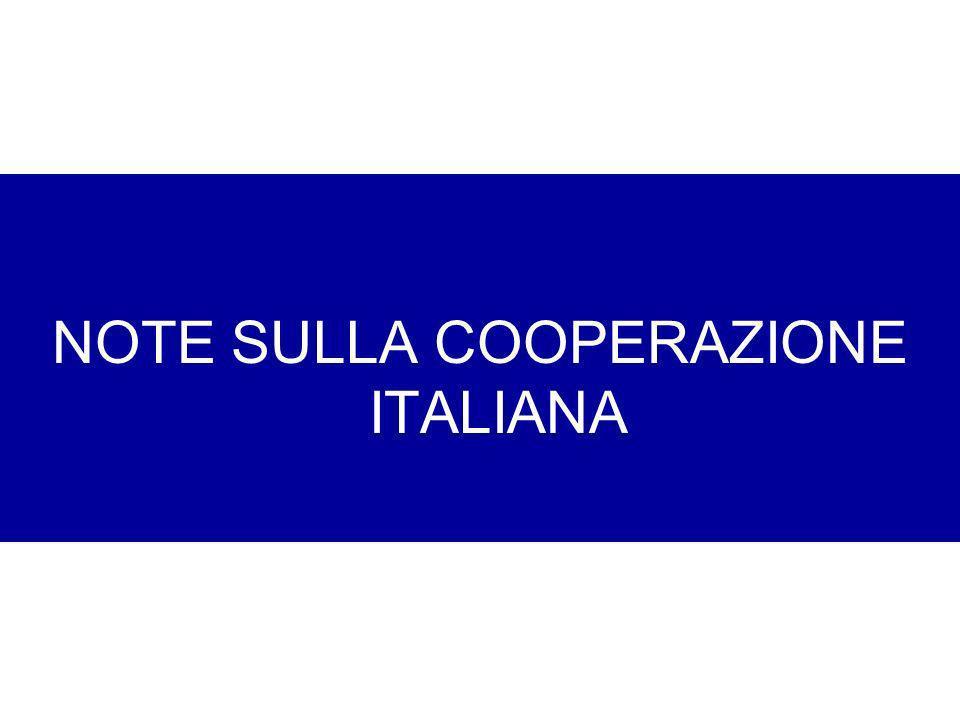 NOTE SULLA COOPERAZIONE ITALIANA