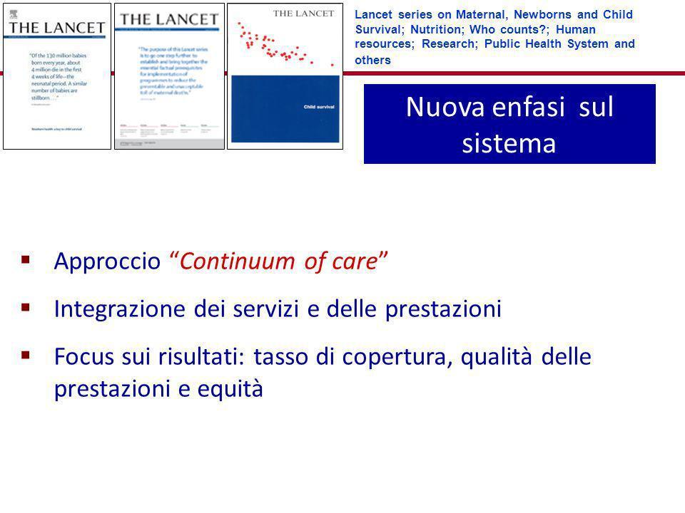 Nuova enfasi sul sistema Approccio Continuum of care Integrazione dei servizi e delle prestazioni Focus sui risultati: tasso di copertura, qualità del