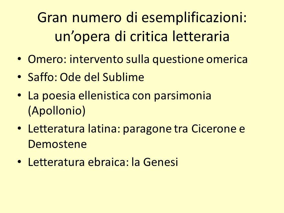 Gran numero di esemplificazioni: unopera di critica letteraria Omero: intervento sulla questione omerica Saffo: Ode del Sublime La poesia ellenistica