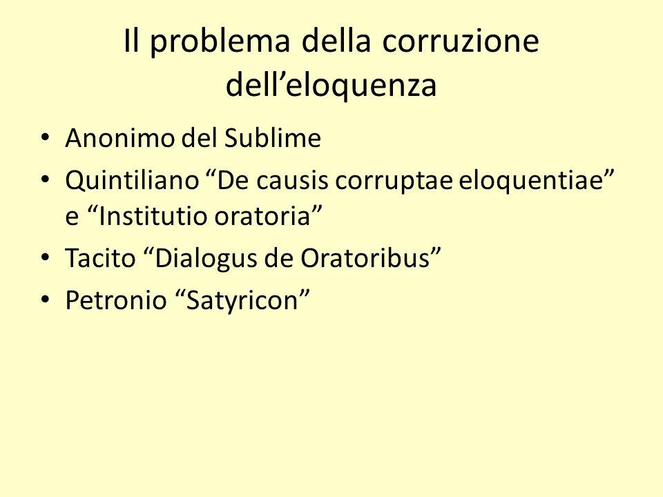 Il problema della corruzione delleloquenza Anonimo del Sublime Quintiliano De causis corruptae eloquentiae e Institutio oratoria Tacito Dialogus de Or