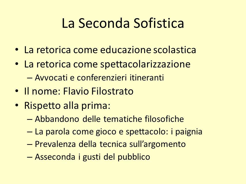 La Seconda Sofistica La retorica come educazione scolastica La retorica come spettacolarizzazione – Avvocati e conferenzieri itineranti Il nome: Flavi