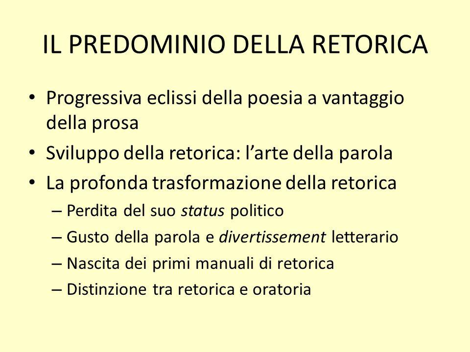 IL PREDOMINIO DELLA RETORICA Progressiva eclissi della poesia a vantaggio della prosa Sviluppo della retorica: larte della parola La profonda trasform