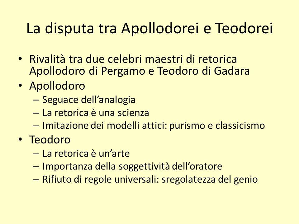 La disputa tra Apollodorei e Teodorei Rivalità tra due celebri maestri di retorica Apollodoro di Pergamo e Teodoro di Gadara Apollodoro – Seguace dell