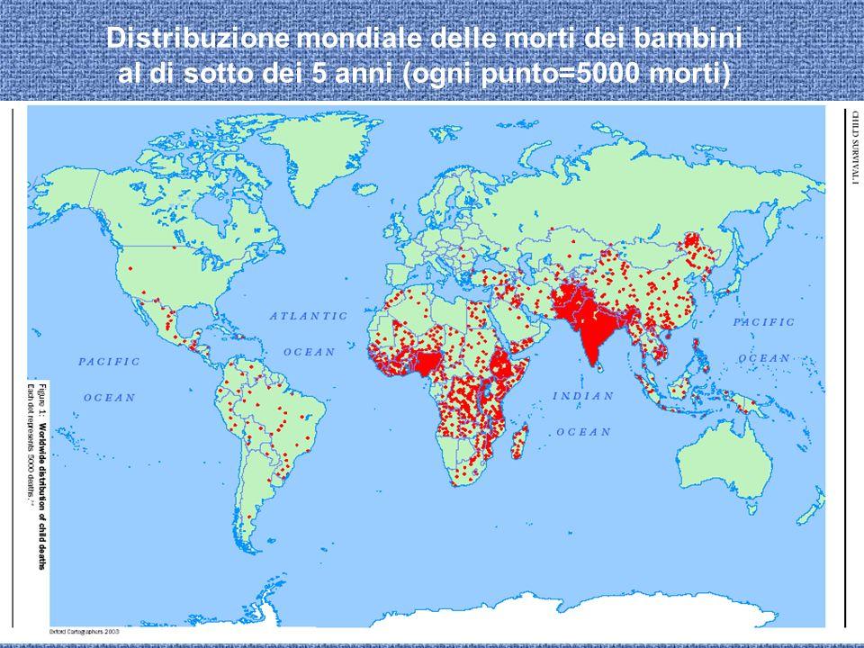 Distribuzione mondiale delle morti dei bambini al di sotto dei 5 anni (ogni punto=5000 morti)