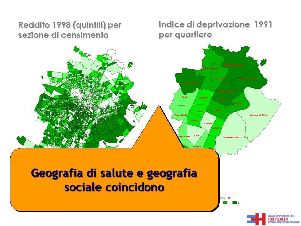 Indice di deprivazione 1991 per quartiere Reddito 1998 (quintili) per sezione di censimento Dato mancante= Geografia di salute e geografia sociale coincidono