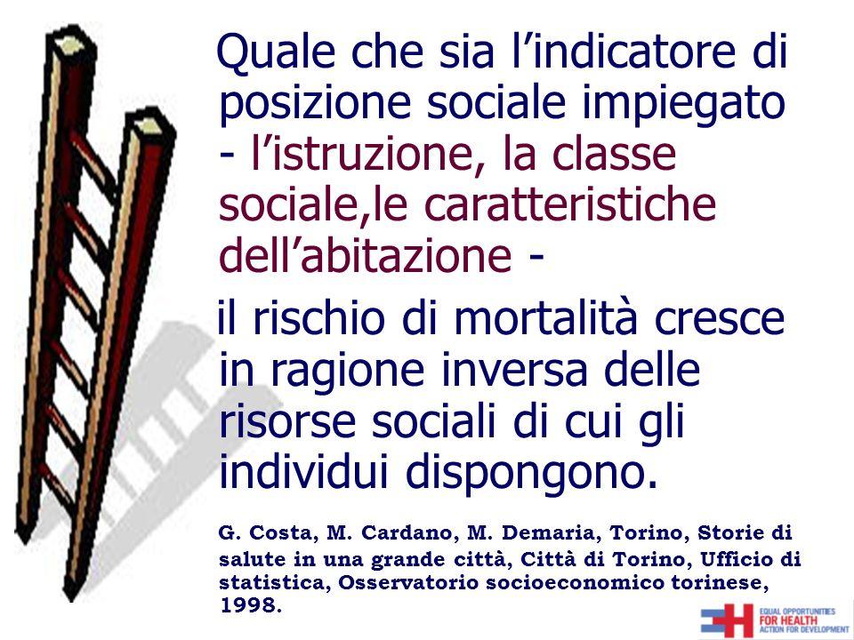 Quale che sia lindicatore di posizione sociale impiegato - listruzione, la classe sociale,le caratteristiche dellabitazione - il rischio di mortalità