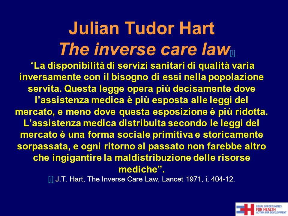 Julian Tudor Hart The inverse care law [i]La disponibilità di servizi sanitari di qualità varia inversamente con il bisogno di essi nella popolazione