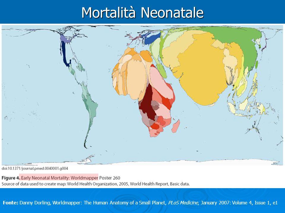 Mortalità Neonatale Fonte: Danny Dorling, Worldmapper: The Human Anatomy of a Small Planet, PLoS Medicine, January 2007: Volume 4, Issue 1, e1
